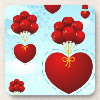 Red heart with balloons, coaster