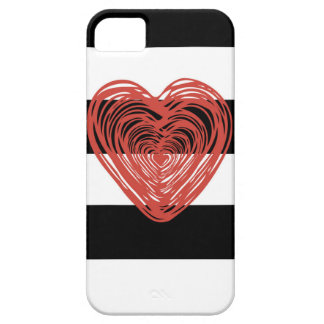Red Heart with Black and White Stripes iPhone 5 Cases