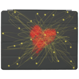 Red Heart with Gold Stars Abstract Art Design iPad Cover