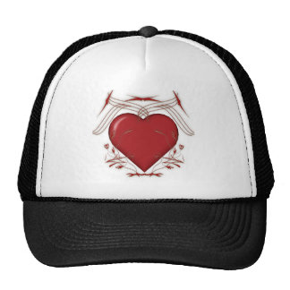 Red Heart With Tribal Pattern - Trucker Hat