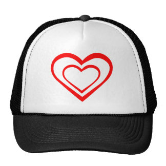 Red Heart Within a Heart Mesh Hat