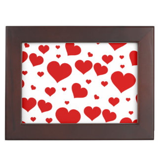 Red heart wooden border trinket box