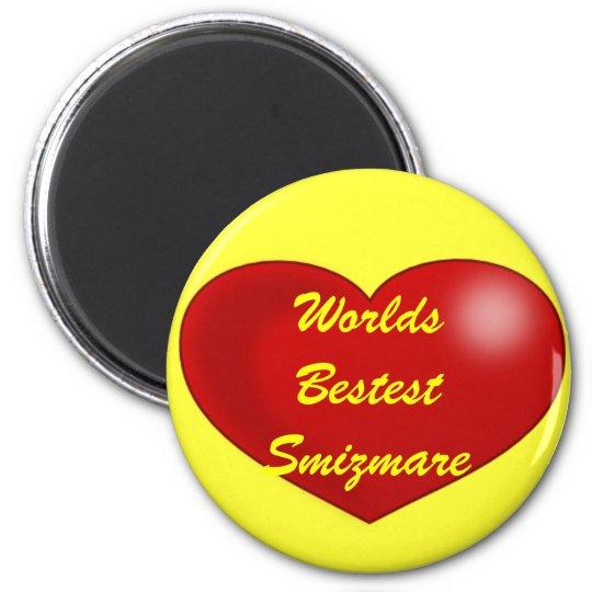 red_heart, Worlds Bestest Smizmare 6 Cm Round Magnet
