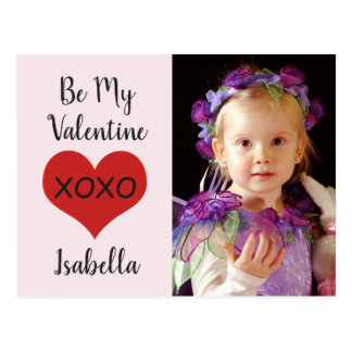 "Red heart xoxo photo ""Be My Valentine."" Postcard"