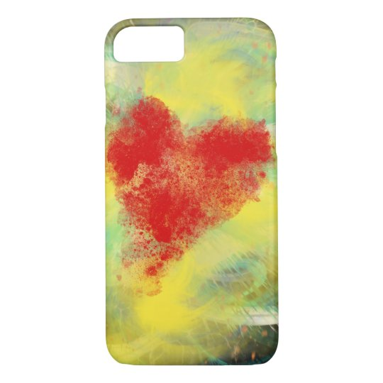 Red Heart Yellow Spiral abstract Art Design iPhone