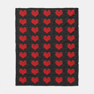 Red Hearted  Black Brick Patterned Blanket