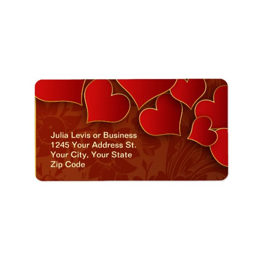 red hearts address label