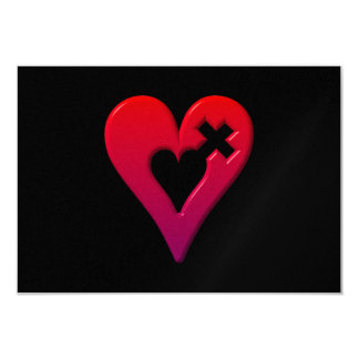 Red Hearts and Cross 9 Cm X 13 Cm Invitation Card