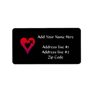 Red Hearts and Cross Address Label