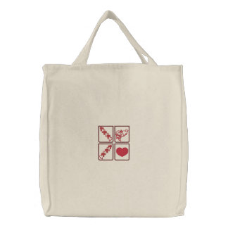 Red Hearts and Cupid Embroidered Canvas Totes Embroidered Tote Bag