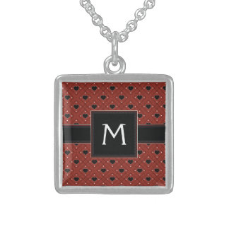Red Hearts And Dots Plaid Pattern With Initial Sterling Silver Necklace