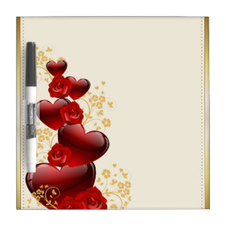Red hearts and red roses dry erase board