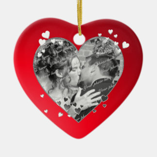 Red Hearts and Ribbon Photo Christmas Ornament