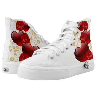 Red hearts and roses printed shoes