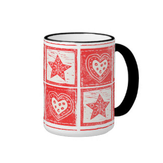 Red Hearts and Stars Ringer Coffee Mug