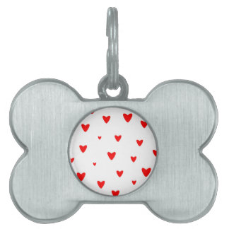 Red Hearts Background Pet Tag