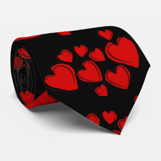 Red Hearts Black Style Tie
