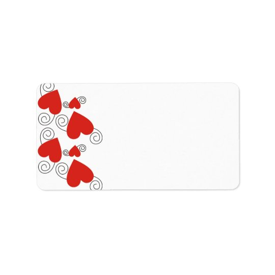 Red Hearts Blank Address Labels