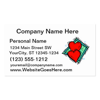 red hearts blue diamond design business cards