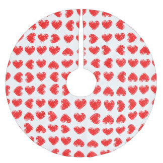 Red hearts brushed polyester tree skirt