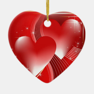 Red Hearts Ceramic Heart Decoration