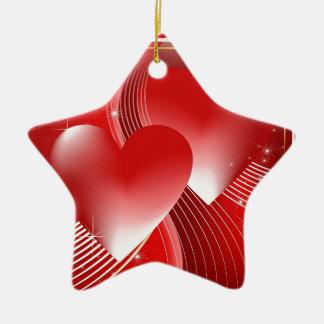Red Hearts Ceramic Star Decoration
