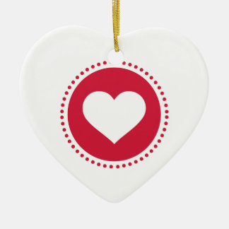 Red hearts circle ceramic heart decoration