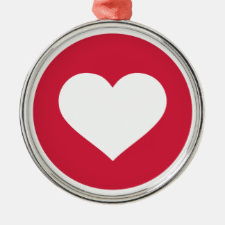 Red hearts circle Silver-Colored round decoration