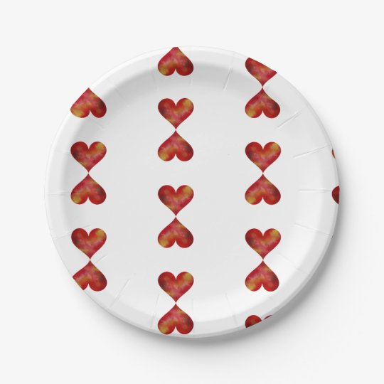 Red Hearts Custom Paper Plates 7 in