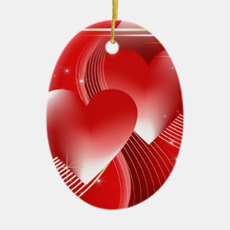 Red Hearts Christmas Ornaments