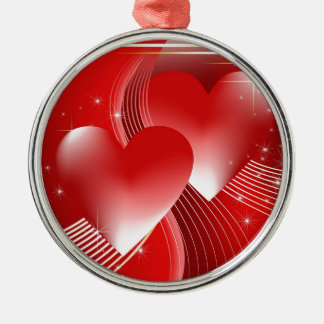 Red Hearts Round Metal Christmas Ornament