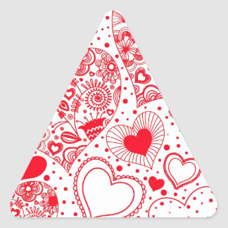 Red Hearts for Valentine's Day Triangle Sticker