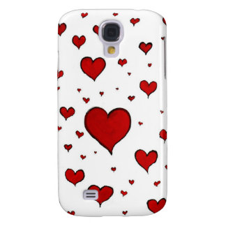 Red hearts galaxy s4 case