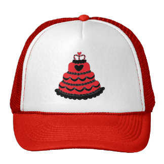 Red Hearts Gothic Cake Cap