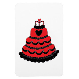 Red Hearts Gothic Cake Rectangular Magnets