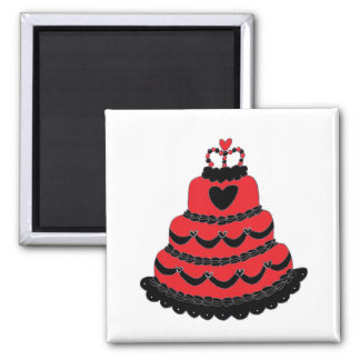 Red Hearts Gothic Cake Fridge Magnet
