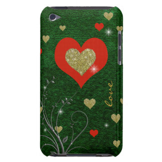 red hearts green iPod touch covers