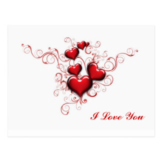Red Hearts Intertwined, I Love You Postcard