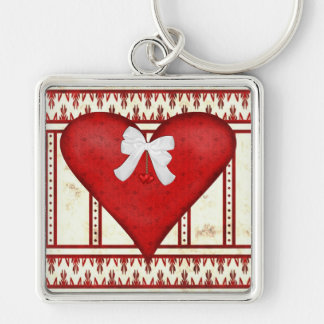 Red Hearts Silver-Colored Square Key Ring