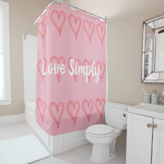 Red Hearts Love Simply Pink Shower Curtain