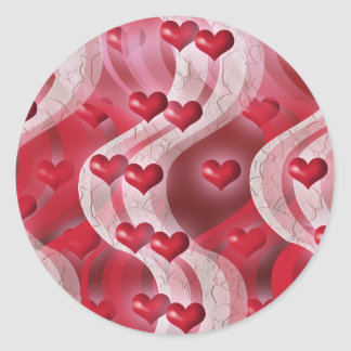 Red hearts love stickers