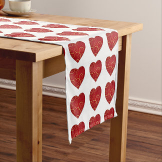 Red hearts, love, table runner