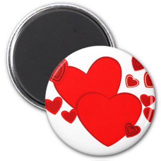 Red Hearts 6 Cm Round Magnet