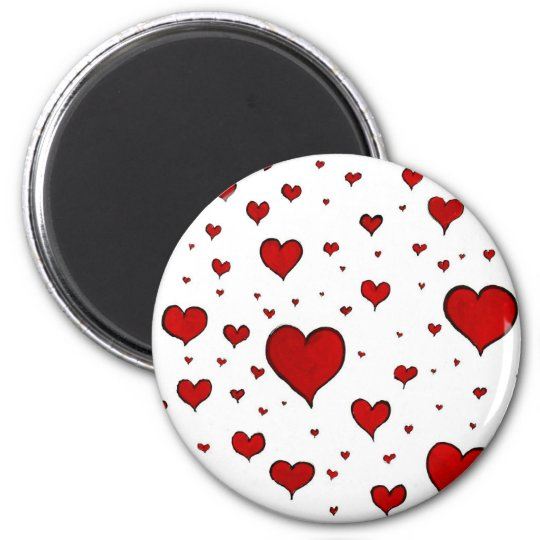 Red hearts magnet