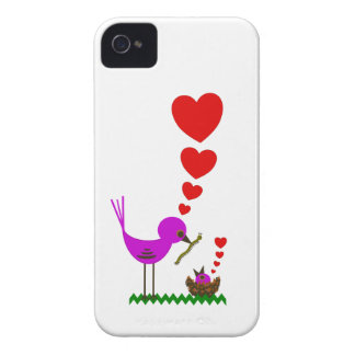 Red Hearts Momma Bird Loves Baby BlackBerry Case