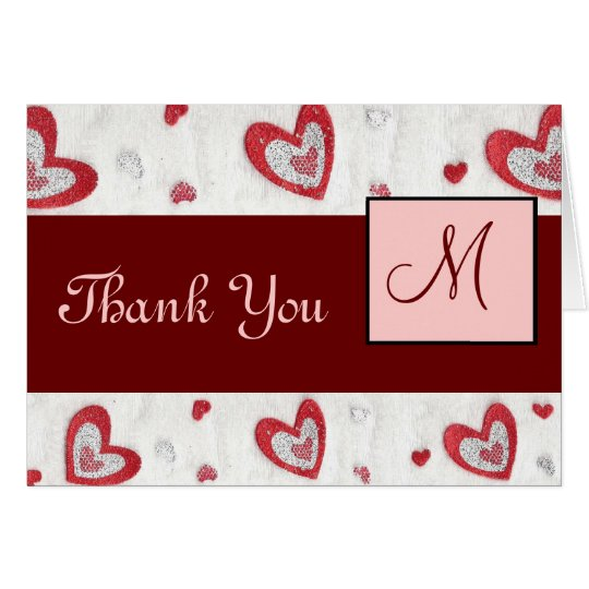 Red Hearts Monogram Thank You Card