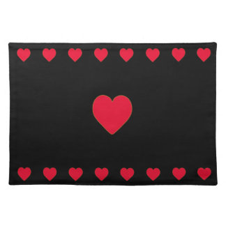 Red hearts on black background placemat