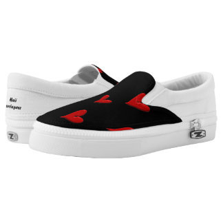 Red Hearts on Black Slip On Shoes