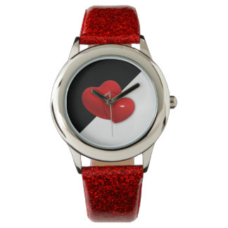 red hearts on black white background watch