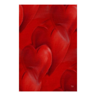Red Hearts on Canvas Posters